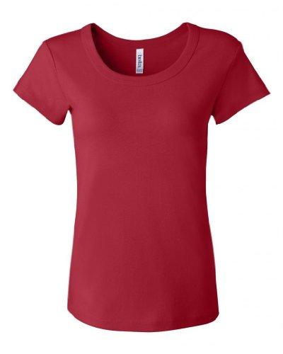 Bella Ladies Classic Short Sleeve Scoop Neck Tee T-Shirt - Red, Ladies Large