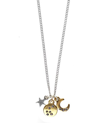 bdc861d809f95 Hultquist Moon and Star Pendant Necklace - 42CM, SILVER/GOLD: Amazon ...