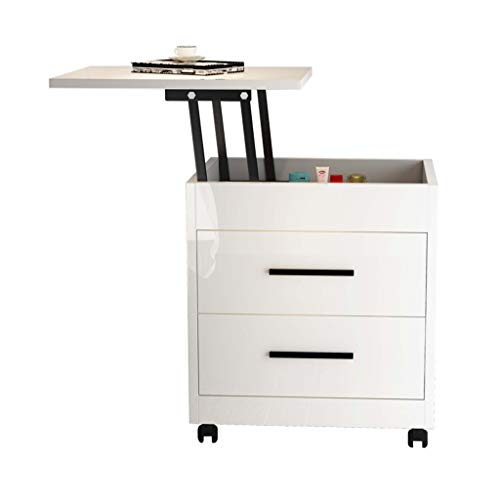 Bedside Table Bedside Table - Liftable Countertop Drawers Storage Cabinet Multifunction Economic Type Bedside Cabinet Bedroom Furniture/360° Universal Wheels (Color : A)