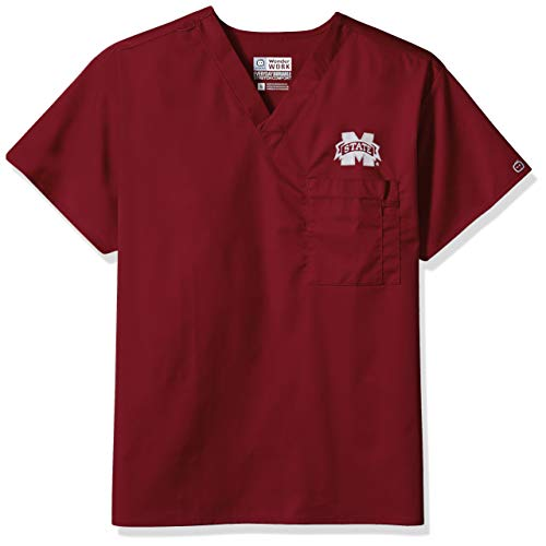 (WonderWink Unisex-Adult's Mississippi State University V-Neck Top, Maroon, XL)