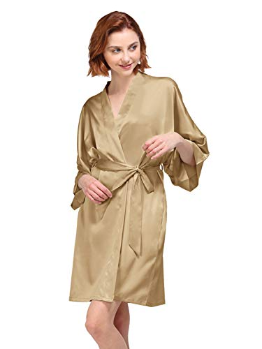 AW Silky Satin Robes Short Kimono Bathrobe Dressing Gown for Bride Bridesmaid Wedding Party, Light Gold Robe, S