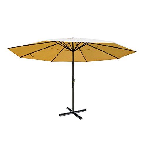 Alu-Sonnenschirm Meran, Gastronomie Marktschirm ohne Volant Ø 5m ~ creme ohne Ständer