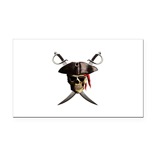 (CafePress - Pirate Skull and Swords Rectangle Car Magnet - Rectangle Car Magnet, Magnetic Bumper Sticker)