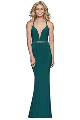 Faviana S10266 Beaded Deep V-Neck Jersey Fitted Dress in Forest Green