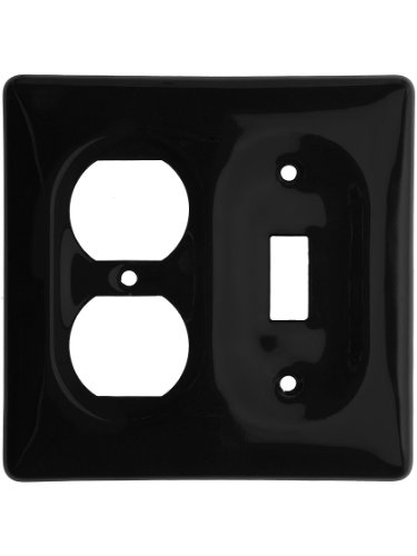 Black Porcelain Toggle/Duplex Combination Switchplate by AmerTac
