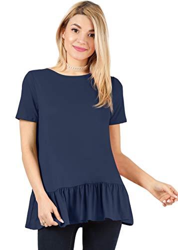 Navy Blue Shirts for Women Ruffle Shirt Loose Tshirt Peplum Top Flowy Tops for Women Navy Blue Blouse (Size Small US 2-4, Navy Short Sleeve)