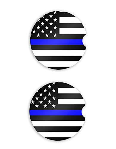 - Thin Blue Line Flag Car Coaster Cup Holder 2 pcs Set Handmade Law Enforcement Automobile Accessory