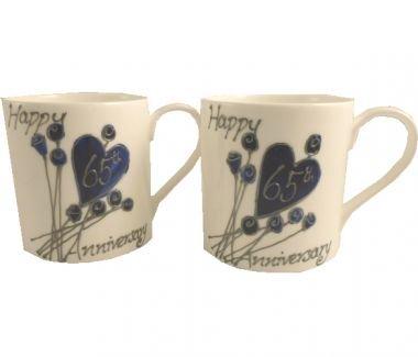 65th (Blue Sapphire) Wedding Anniversary Gift China Mugs (Pair)