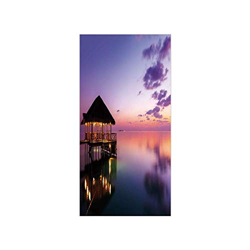 3D Decorative Film Privacy Window Film No Glue,Tropical,Arbor with Lights on Sea at Dramatic Night Paradise Maldives Sky Exquisite Coast View,Purple,for Home&Office