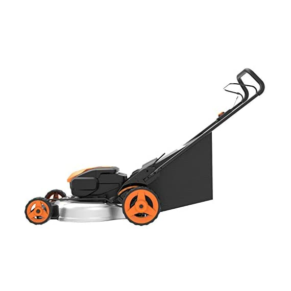 "WORX WG751 40V 19'' Cordless Lawn Mower, 2 Batteries & Charger Included, Black and Orange 2 Our 20"" 40V PowerShare mower comes with 2 rechargeable 20V 5.0Ah batteries that deliver 40V of rugged mowing power Steel makes all the difference. It lasts longer and performs better on undulating terrain. And with 20"" of it, you'll make fewer passes on your lawn Worx Power Share is compatible with all Worx 20v and 40v tools, outdoor power and lifestyle products"