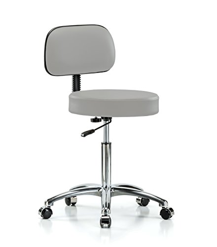 Perch Walter Chrome Rolling Exam Stool with Adjustable Backrest For Medical Dental Office Salon Home or Workshop 21
