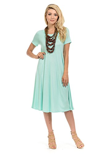 iconic luxe Women's Short Sleeve A-Line Trapeze Midi Dress X-Large Mint