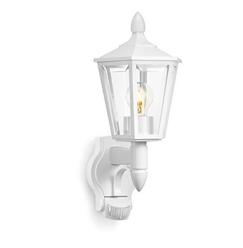Steinel Außenleuchte L 15 weiß, klassische Sensor-Wandleuchte mit 180° Bewegungsmelder bei einer Reichweite von max. 10 m, ideal für Hausfronten und Eingänge, 617912