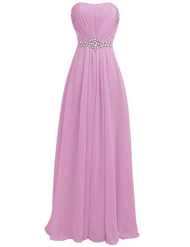 Frauen rpe Abend HWAN langes Rhinestone Rosa Kleid Kleid Sch Strapless Brautjunfer dxx8ZqIw