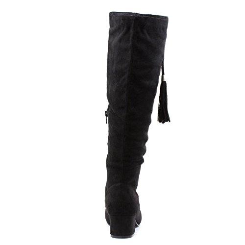 Lilley Womens Black Tassel Knee High Boot Black DGPvaWRzt