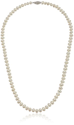 Sterling Silver White Freshwater Cultured A Quality Pearl Necklace (5.5-6mm), 20