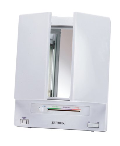 Jerdon Tri Fold Two Sided Lighted Makeup Mirror With 5x