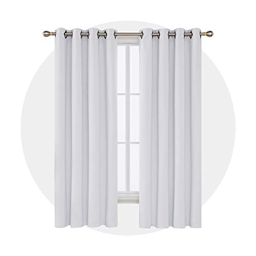 Deconovo Blackout Curtains Room Darkening Curtains Grommet Curtains Thermal Insulated Curtains for Bedroom 52W x 84L Inch Greyish White 2 Panels