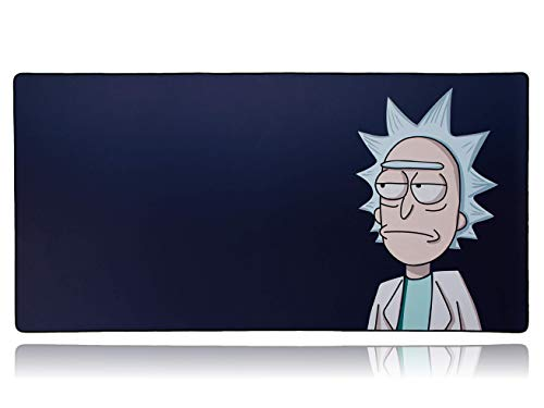 (Rick and Morty Extended Mega Size Custom Professional Gaming Mouse Pad - Anti Slip Rubber Base - Stitched Edges - Large Desk Mat - 48