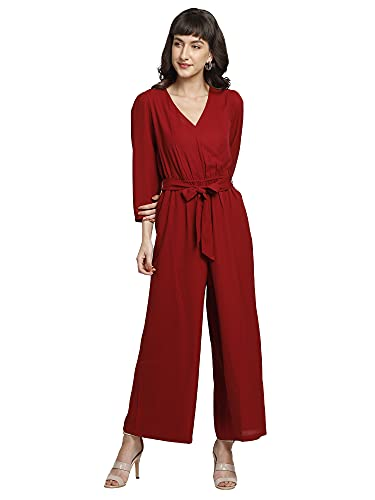 You Forever Womens Stylish Maroon Wrap Jumpsuit Cinched Elastic Waist Calf Length Comfortable Formal Wear Along with Bow Style Belt Solid V-Neck Design for Office, Business, Casual Party,Outing