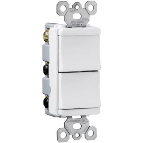 Legrand - Pass & Seymour TM811WCC6 Decorator Combination Single Pole and Single Pole Easy Install, White Double Switch