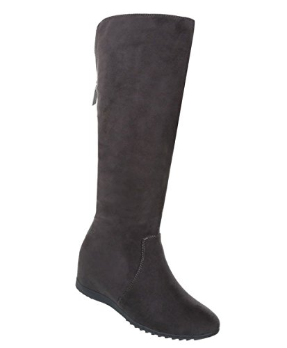Schuhcity24 Damen Schuhe Stiefel Keil Wedges Braun