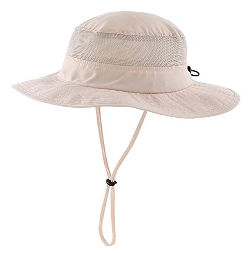 Connectyle Unisex Child Kids UPF 50+ UV Sun Protection Hat Adjustable Wide Brim Bucket Sun Hats Khaki - Brim Bucket Large