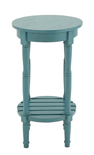 Deco 79 96223 Wood Round Accent Table, 16″ x 29″, Teal For Sale