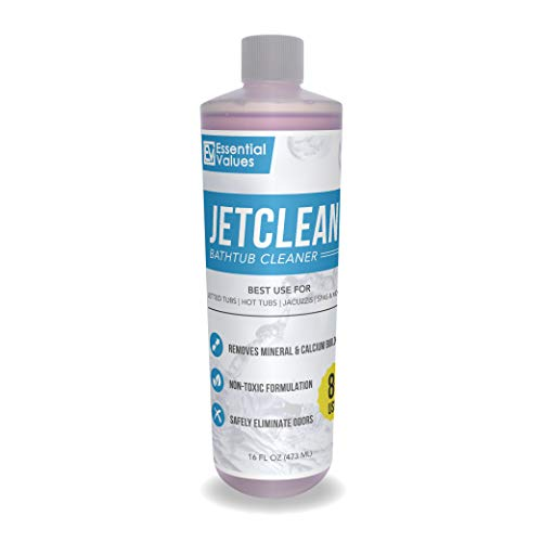 Jetted Tub Cleaner & Whirlpool Cleaner (16 fl oz / 8 uses) - Works Best on Jetted Tubs, Spas, Jet Systems & More to Remove Containments - Comparable to Oh Yuk, Made in USA by Essential Values (Best Cleaner For Cast Iron Tub)