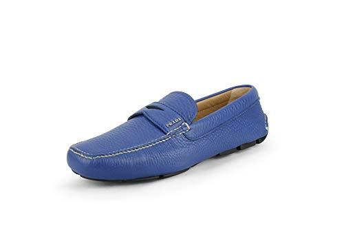 Prada Men's 'Daino 1' Pebbled Leather Driver Shoe, Cobalto 2DD001 (12 US (Prada/UK 11))