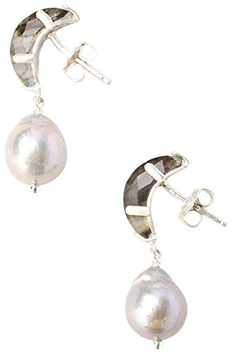 (Chan Luu Petite Grey Cultured Freshwater Pearl with Labradorite Stones Sterling Earrings)
