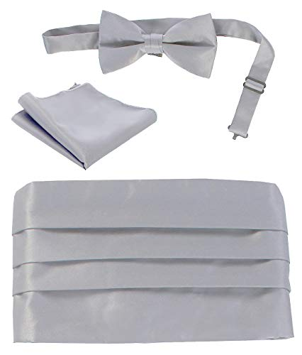 Gioberti Men's Adjustable Satin Cummerbund Set With Formal Bow Tie and Pocket Square, Silver ()