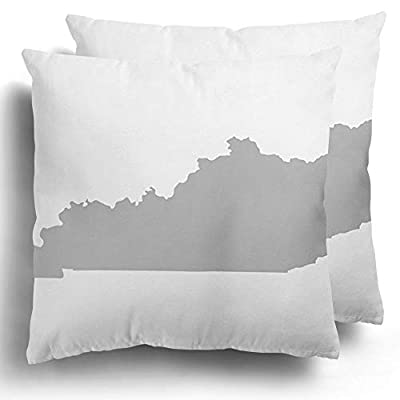 Throw Pillow Covers Set of 2 Blue State Kentucky Map in Gray on Yellow Shape Polyester Cushion Square Pillowcase Home Decor 18 x 18 Inches