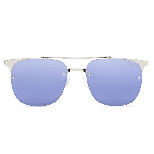 Quay Australia PRIVATE EYES Women's Sunglasses Metal Winged Frame - SLV/Violet