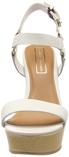 Leather Para Sandalias Tommy Con Elevated Blanco Plataforma whisper Wedge 121 White Hilfiger Mujer Sandal Ec88q6n