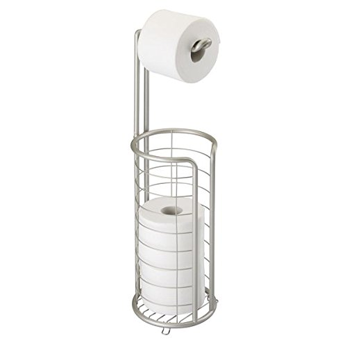 mDesign Modern Metal Free Standing Toilet Paper Roll Holder Stand and Dispenser with Storage for 3 Rolls of Reserve Toilet Tissue - for Bathroom Storage Organizing - Holds Mega Rolls, Satin by mDesign