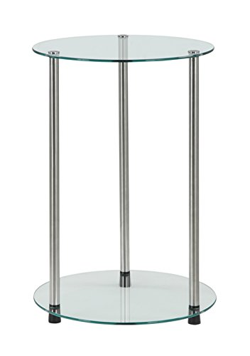 Convenience Concepts Designs2Go 2-Tier Round End Table (Sofa Glass Round)
