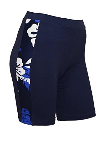 Privado isla Hawaii UV Rash Guard mujer Skinny pantalones cortos pantalones Azul marino con blanco azul