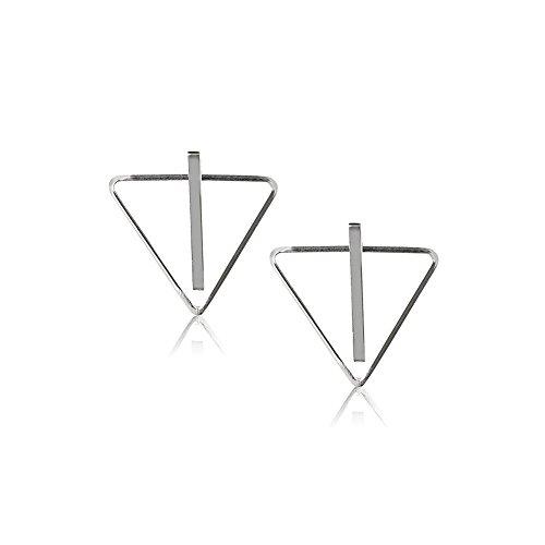 925 Sterling Silver Simple Bar Stud w/Detachable Triangle Spike Ear Jacket Minimalist Earrings
