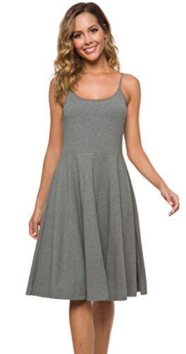 Malist Women's Casual Sleeveless Adjustable Strappy Flared Midi Skater Dress Grey Large (Skater Dress Below Knee)