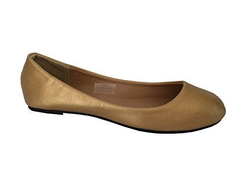 Schoenen 18 Dames Basic Ronde Neus Ballet Flats Schoenen 8600a Gold Pu