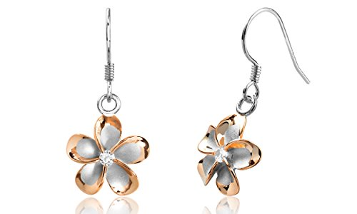 Sterling Silver with 14k Rose Gold Plated CZ Plumeria Hook Earrings, 14mm