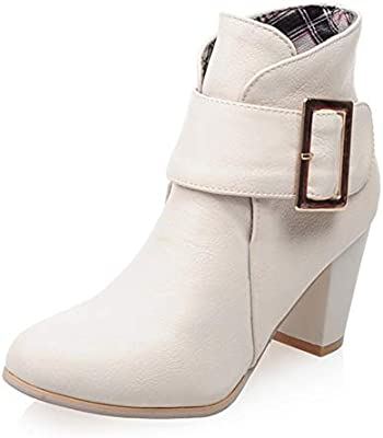 HOESCZS New Square High Heels Belt Buckle Shoes Woman Casual