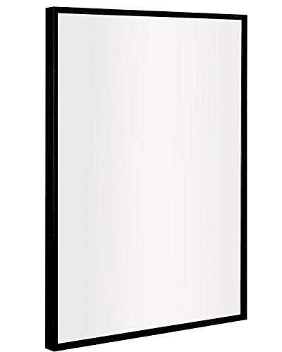 Bathroom Mirror, Clean Large Modern Black Frame Wall Mirror | 30x40-Inch Contemporary -