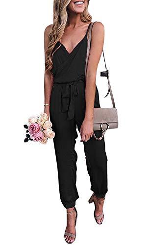 Salimdy Women V Neck Sleeveless Spaghetti Strap Jumpsuit Rompers with Belt Black Medium