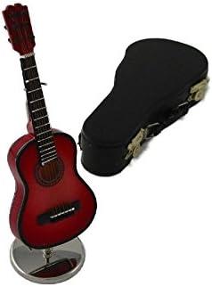 Ciaf, 2503-4667, Guitarra española decorativa roja. Miniatura en madera. Con estuche y soporte. 16x5x4 cms: Amazon.es: Hogar