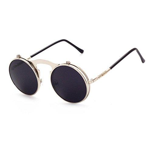 Aoligei Lunettes de soleil rétro steampunk métal Flip flip lunettes de soleil et lunettes de mode des femmes rondes boîte miroir Prince yoobRQfwq