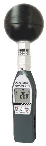 General Tools WBGT8778 Deluxe Heat Index Monitor with Wet Bulb Globe Temperature, 75mm Black Ball