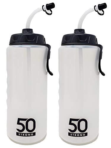 1 Liter Sports Water Bottle W/Straw 2 Pack – Easy Squeeze + Built in Finger Grip & Carry Loop – BPA Free Plastic – Use W/Sport Helmet in Football & Hockey – (Clear/Black, 2 Pack)