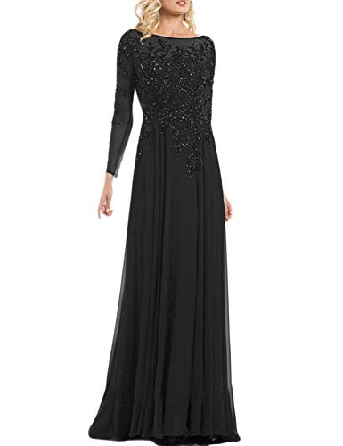 (A Line Chiffon Plus Size Party Dresses 2019 Formal Ball Gown Manual Beaded Long Sleeves Scoop Neck Full Length Evening Dress for Women Empire Waist Mother of Bride Gown YRSH047 Black Size 24)